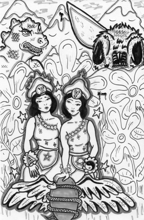 Gemini. Draw by Michele Witchipoo, late 2009. Originally self-published in Babalon Babes issue 4 (Astrology Issue)