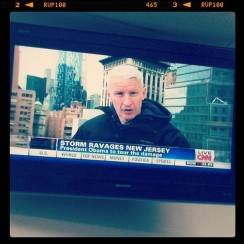 Anderson Cooper reporting on Hurricane Sandy. Oct. 2012. Photo by Michele Witchipoo.