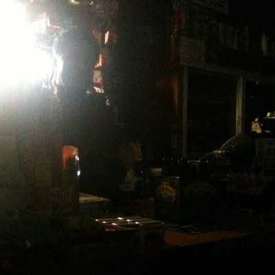 Inside East Village deli with no electricity. Nov. 2012. Photo by Michele Witchipoo.