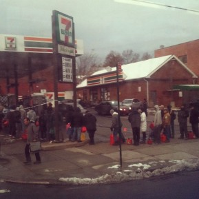 Line for gas a week after Hurricane Sandy. Flushing, Queens NY. Nov. 2012. Photo by Michele Witchipoo.