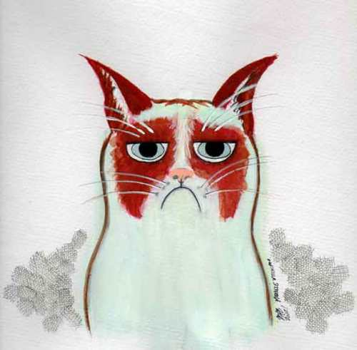 Grumpy Cat painting. Materials: Gouache, pen. Dec. 2012. Painting by Michele Witchipoo.