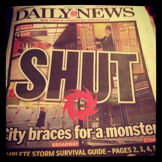 Crappy newspaper NY Post covers Hurricane Sandy. Oct. 2012. Photo by Michele Witchipoo.