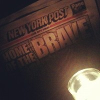 NY Post again at Double Down. Nov. 2012. Photo by Michele Witchipoo.