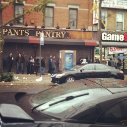 Cue the Lana Del Rey song. Line outside local Game Stop. Queens, NY. Oct. 2012. Photo by Michele Witchipoo.