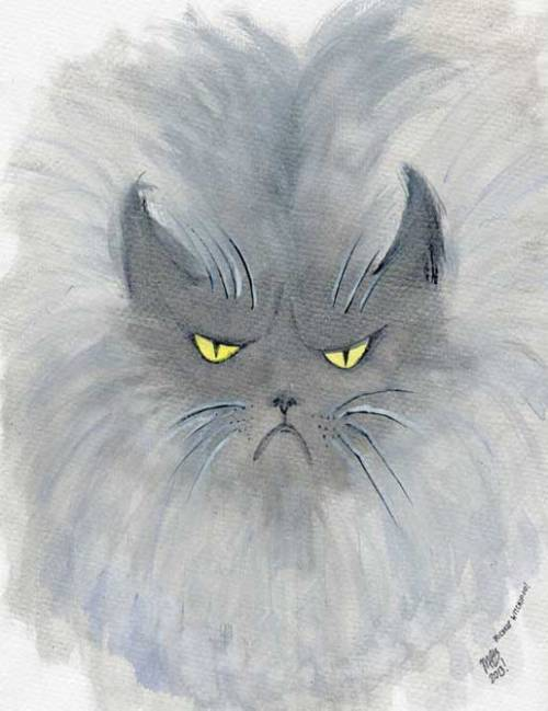 Colonel Meow. January 2013. Watercolor. Illustration by Michele Witchipoo.
