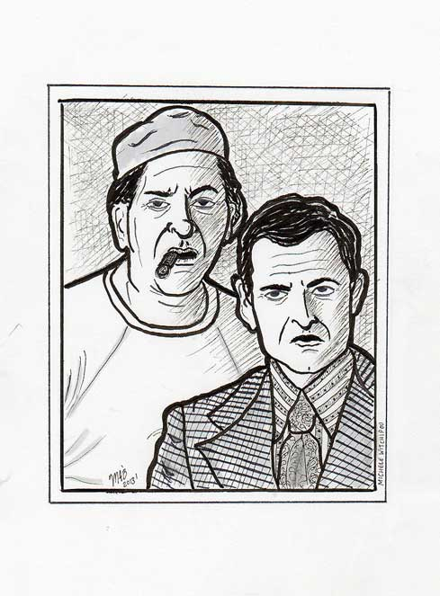 The Odd Couple.  Pen and ink sketch. Done January 2013.  Drawn by Michele Witchipoo