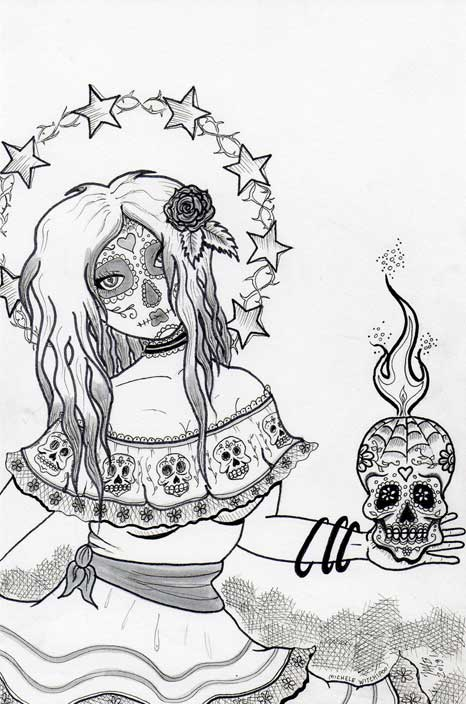 Sugar Skulls.  Done January 20th, 2013. Pen and ink.  Drawn by Michele Witchipoo.
