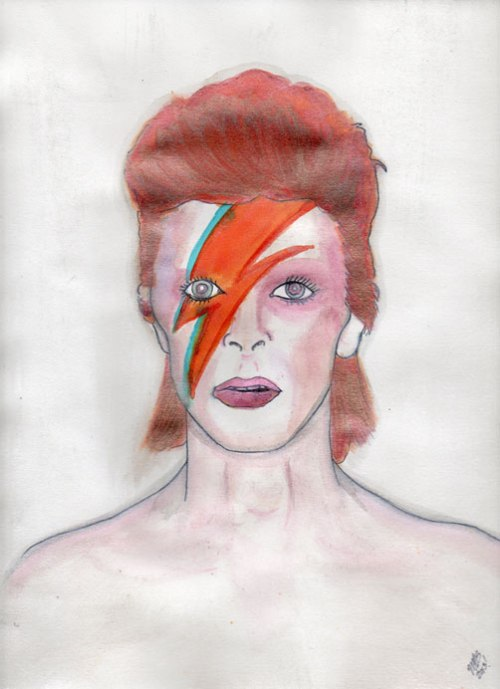 David Bowie from his Aladdin Sane era. Glitter watercolor. Painting done by Michele Witchipoo March 2013.