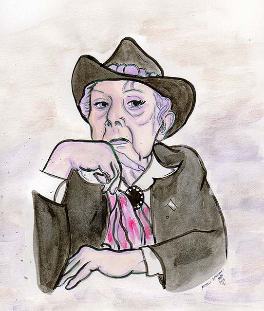 Quentin Crisp. Quickie illustration by Michele Witchipoo. Created March 28th, 2013. Pen, ink, glitter watercolor.