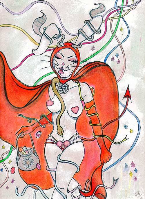 Beltaine Bunny. Watercolor. March/April 2013. Created by Michele Witchipoo.