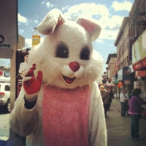 Another Instagram photo. Red right hand bunny. Must be a Nick Cave fan. Bad joke. Photo by Michele Witchipoo, March 2013.
