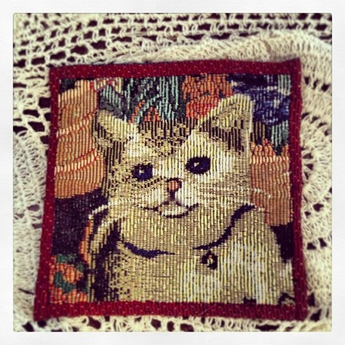 Fake embroidery anyone? Chintzy cat coaster found in a 99 cents store. May 2013. Photo by Michele Witchipoo.