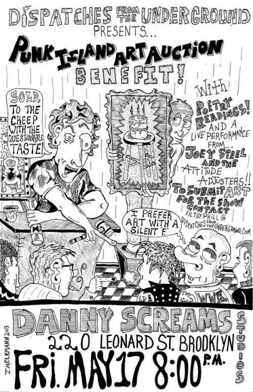 Flyer for Punk Island Art Benefit, May 2013. Artwork by Justin Melkmann.
