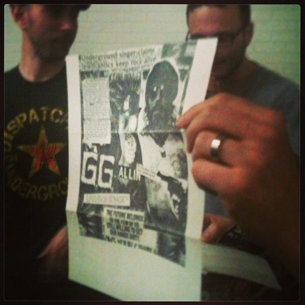 Actual flyer and letter sent to Justin Melkmann from G.G. Allen, when G.G. was in prison. Donated to the art auction to benefit Punk Island 2013.
