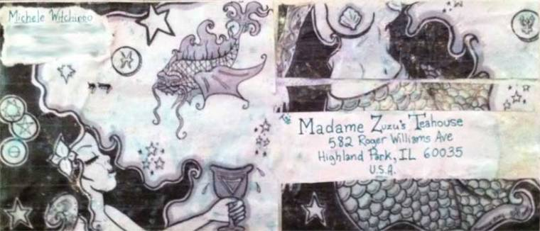Mail Art using illustrations from Babalon Babes issue four. Michele Witchipoo. Envelope in Madame ZuZu's mail art show. June 2013.