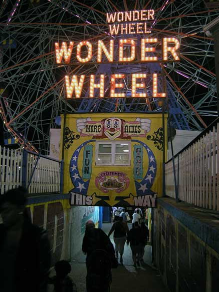 Entrance to the world famous Wonder Wheel. Brooklyn, NY. August 2013. Photo by Michele Witchipoo.