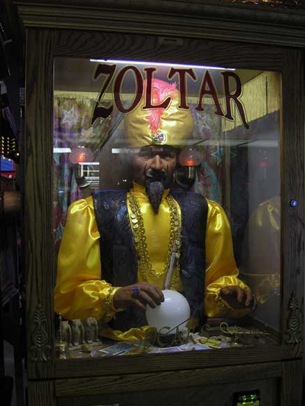 More of that good old fashioned mechanical fortune telling. August 2013. Photo by Michele Witchipoo.