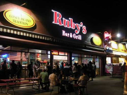 Ruby's Bar and Grill. Serving customers on the Coney Island boardwalk since 1934. First discovered this place after attending the Coney Island Mermaid parade. Survived Hurricane Sandy. August 2013. Photo by Michele Witchipoo.