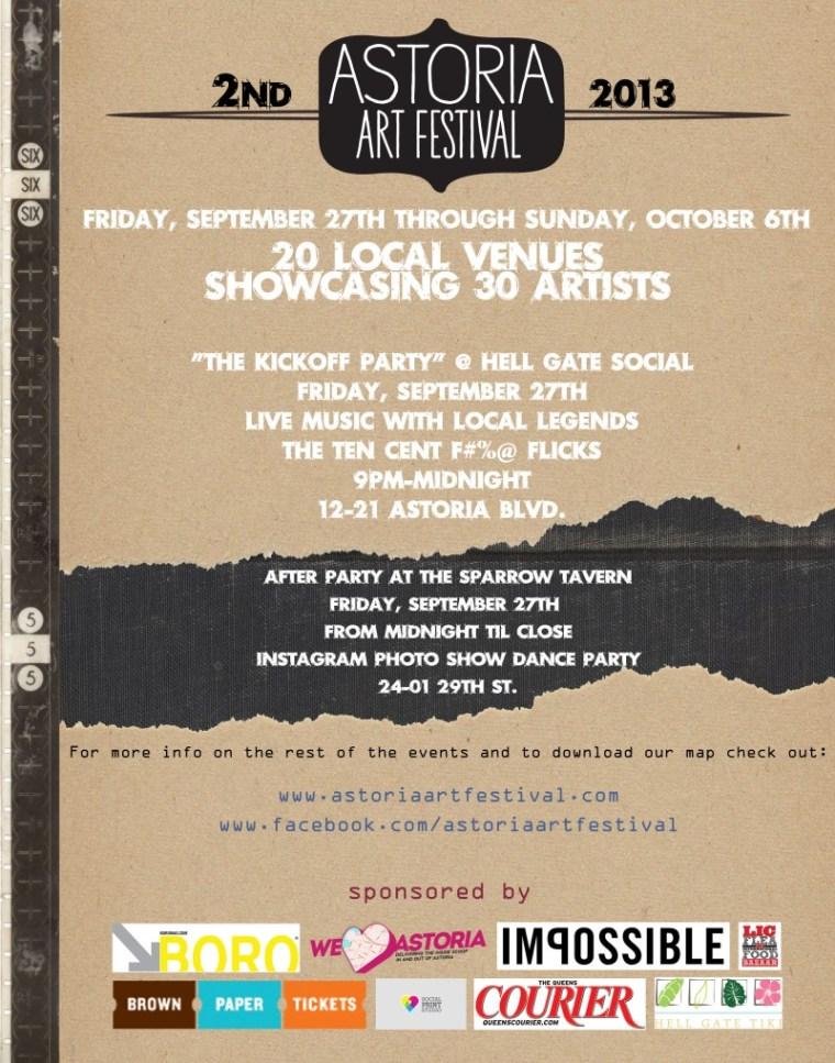 Poster for the 2013 Astoria Art Festival.