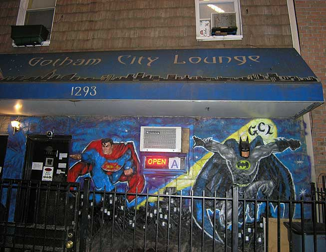 Outside Gotham City Lounge. A superhero theme bar in Bushwick, Brooklyn NYC. Aug. 2013. Photo by Michele Witchipoo.