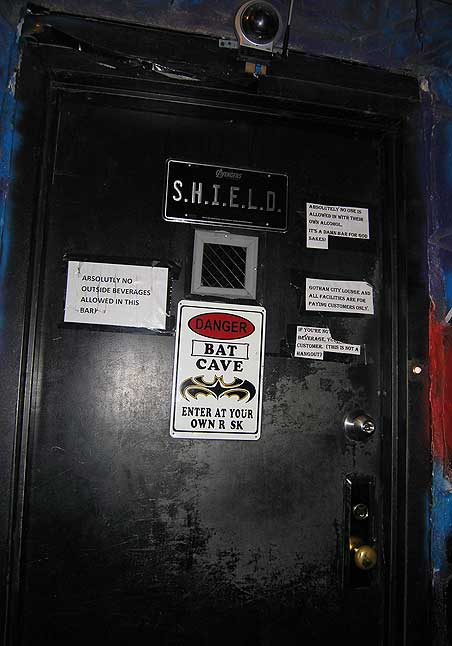S.H.I.E.L.D. and various rules enforces proper behavior. Front entrance to Gotham City Lounge, located in Bushwick, Brooklyn. Labor Day weekend Aug. 2013. Photo by Michele Witchipoo.