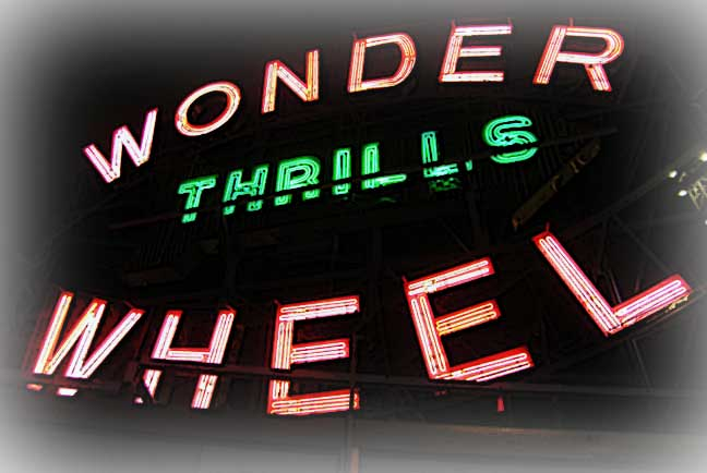Neon letters of the famous Coney Island Wonder Wheel. Aug 2013. Photo by Michele Witchipoo.