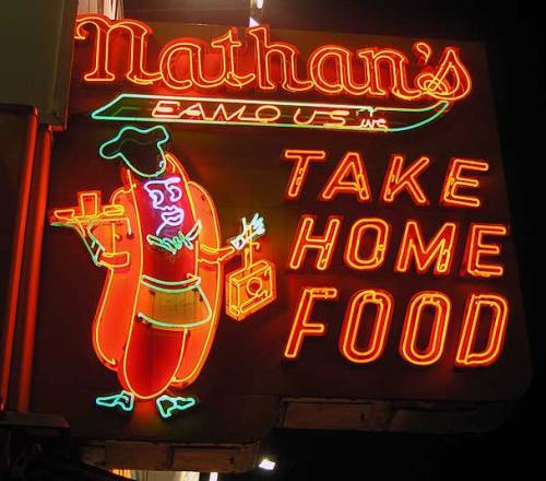 The other thing Coney Island is known for. Nathan's. Many like the hot dogs. I like the thich fries that come with a pitchfork. Aug. 2013. Photo by Michele Witchipoo.