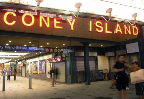Entrance to the Coney Island subway station. Aug. 2013. Photo by Michele Witchipoo.