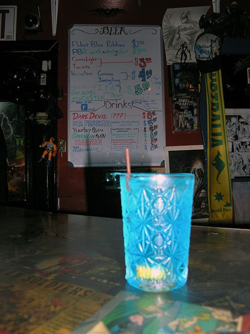 A Dr. Freeze drink at Gotham City Lounge. Bushwick Brooklyn, NY. Labor Day Weekend, 2013. Photo by Michele Witchipoo.