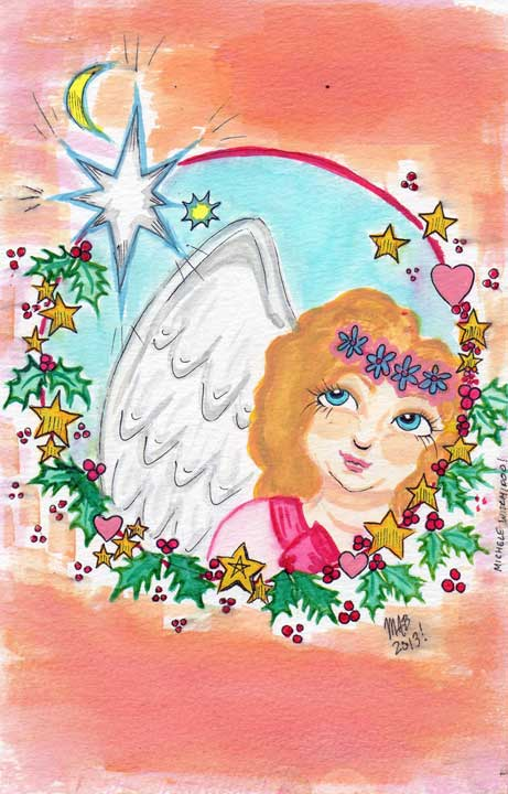 Christmas Angel Dec. 2013. Watercolor by Michele Witchipoo.