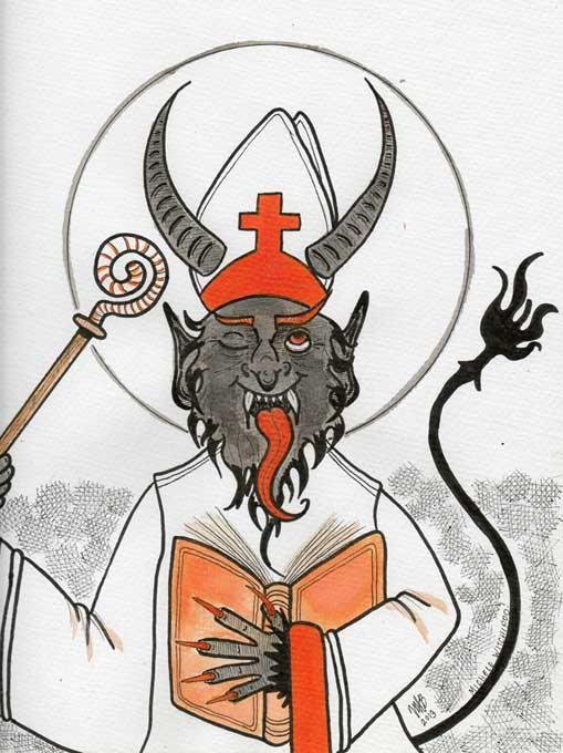 Krampus dressed like Saint Nicholas. Pen, ink, watercolor. Done in Dec. 2013 by Michele Witchipoo. Commission.