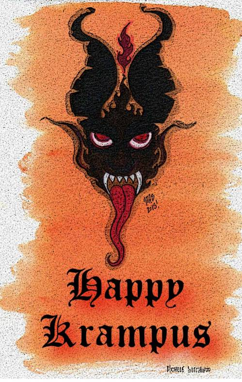 Happy Kramus! Artwork and design by Michele Witchipoo. Watercolor and Adobe Illustrator. Dec. 2013.