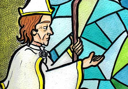 Preview of Saint Cadoc illustration to be published in the forthcoming book,