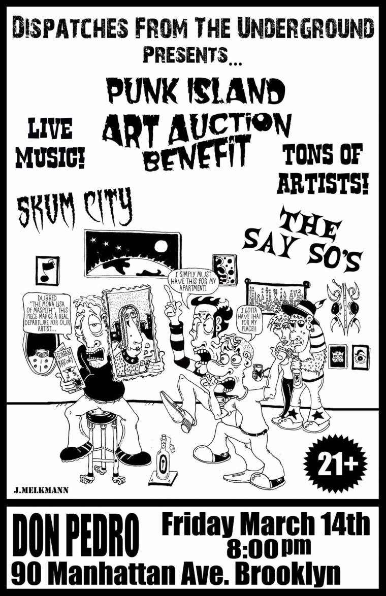 Flyer, art auction to benefit Punk Island 2014. Bands and art. Be there.