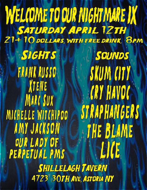 Welcome To My Nightmare IX flyer. One night event April 12th, 2014. Astoria Queens NYC.