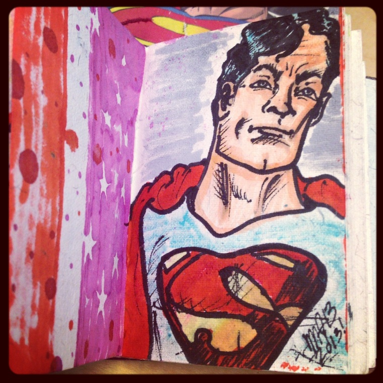 Upclose shot of Superman sketch. Done by Michele Witchipoo, summer 2013. Personal sketch.