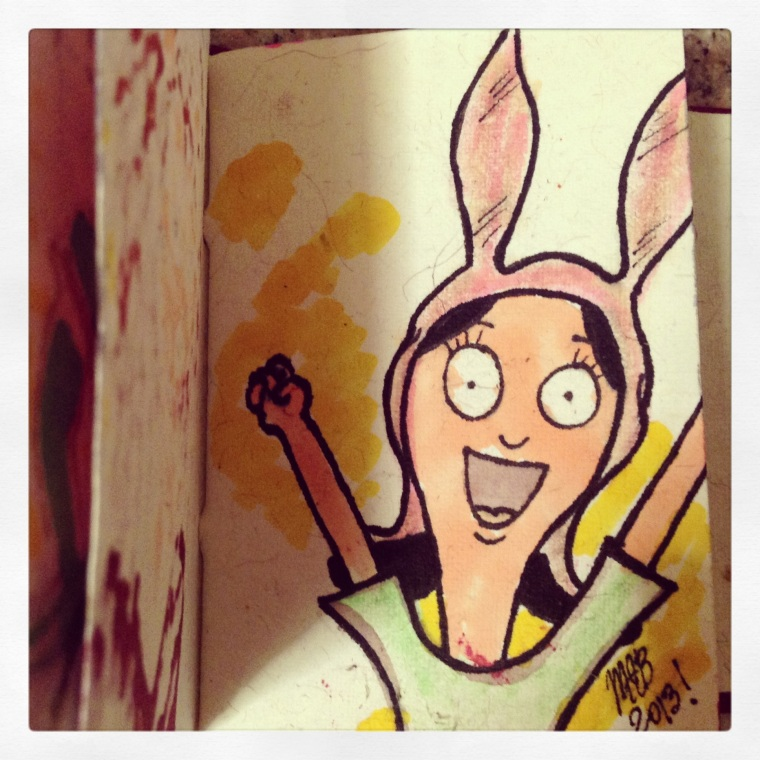 "Rendition of Louise from the television show ""Bob's Burgers."" Sketch done by Michele Witchipoo, Summer 2013."