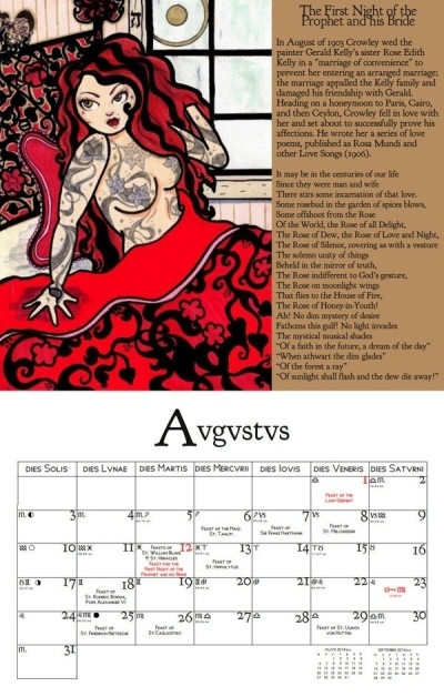 Michele Witchipoo artwork from 2009, in the Thelemic Seasonal Holy Day Wall Calendar 2014.