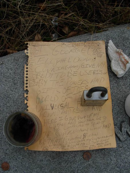 Note left at Harry Houdini's resting place at Machpelah Cemetery. Photo taken by Michele Witchipoo 2009.