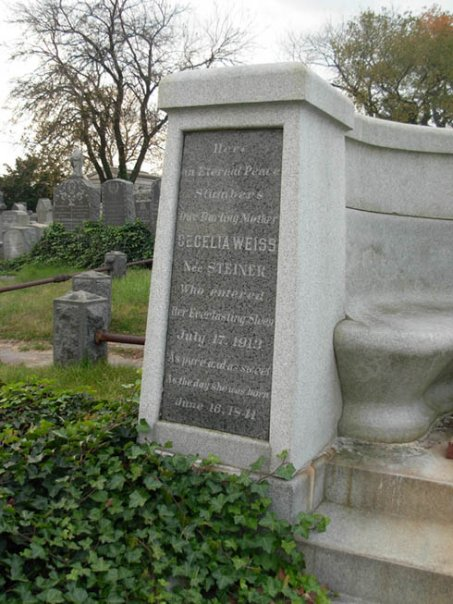 Side of Harry Houdini's resting place at Machpelah Cemetery. Photo taken by Michele Witchipoo 2009.