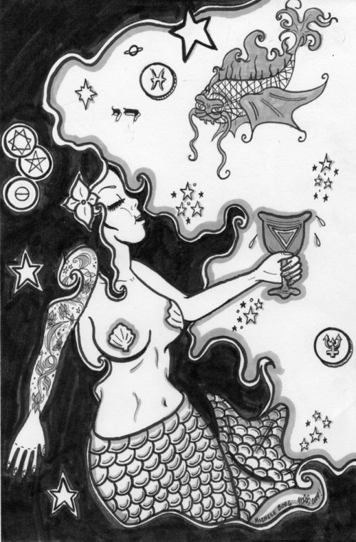 Pisces. Done by Michele Witchipoo. Originally published in Babalon Babes issue 4 by WitchesBrewPress
