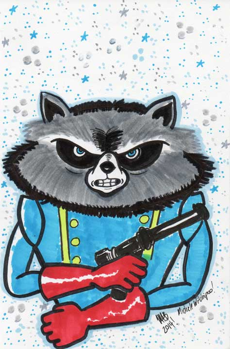 Rocket Raccoon sketch done by Michele Witchipoo. June 5th, 2014. Done with pencil, Copic markers, Tomboy markers.