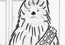 Why is Chewbacca sad? Find out on Sketch Lottery. Drawing by Michele Witchipoo, July 2014.