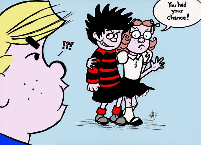 Dennis The Menace meets Dennis The Menace. Sept. 2014, drawn and colored by Michele Witchipoo.