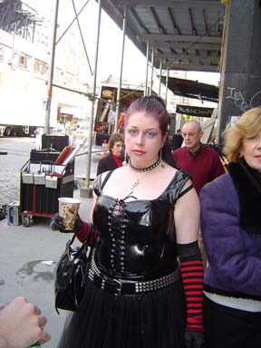 Me as an extra at the Jonny Zero TV shoot. March 2004. Here you can see me kinda cranky, since I had been up since 6:58 am in the morning, so I could arrive in full outfit for a shoot beginning at 11am.