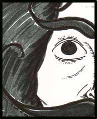Salvador Dali's eye. Almost looks like Alan Moore for a second. Dali's Car anyone? (Drawn by Michele Witchipoo, Oct. 2014)