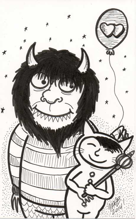 Carol and Max from 'Where The Wild Things Are.' Sketch drawn by Michele Witchipoo, Oct. 2014 for Inktober.