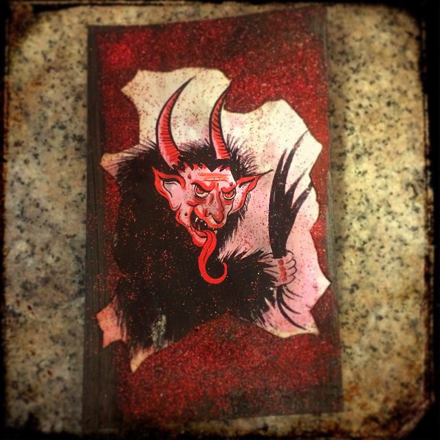 Custom postcard. Krampus. Illustration & postcard from Dec. 2014. Each postcard was signed. Made by Michele Witchipoo. As seen on Etsy.