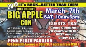 Flyer for Big Apple Comic Con slated for March 2015.