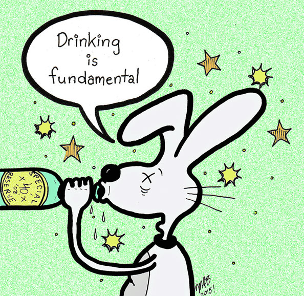 'Drinking Is Fundamental.' Michele Witchipoo's self published comicbook character. March 2015.